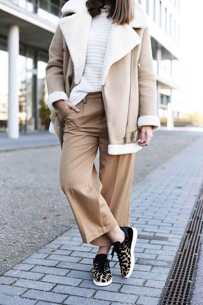 Outfit: Adidas Stan Smith W Leo Sneaker & Zara Shearling Jacket
