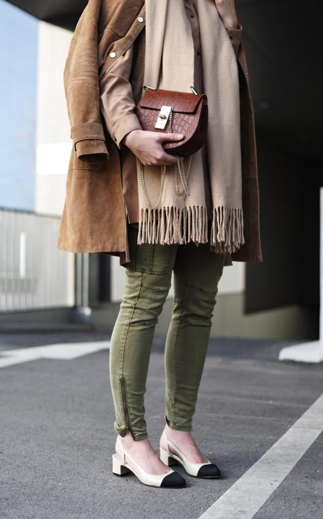 fashiioncarpet-cargo-pants-khaki-camel-scarf-acne-slingback-pumps-nina-schwichtenberg