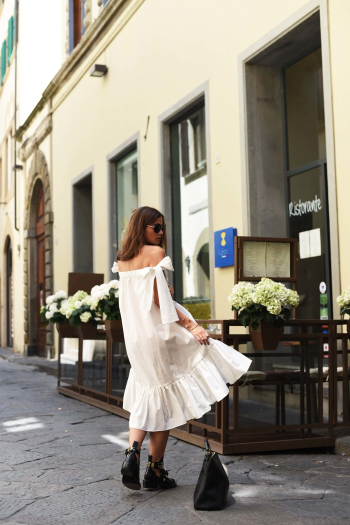 fashiioncarpet-msgm Ribbon-Tie-Off-Shoulder-Dress-white