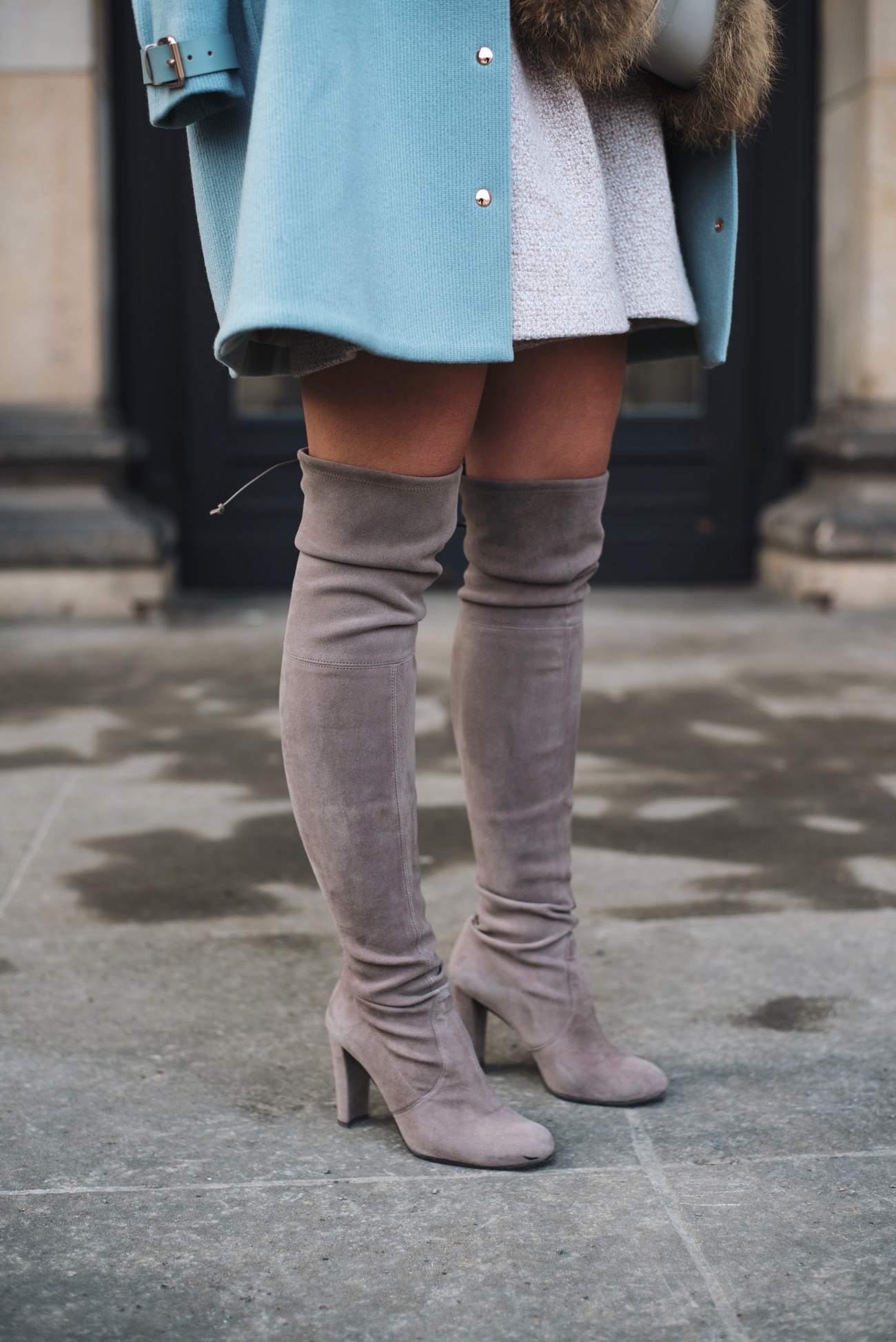 fa3eaa78634 Outfit  Winter Layering with Stuart Weitzman Highland Tone Overknee ...