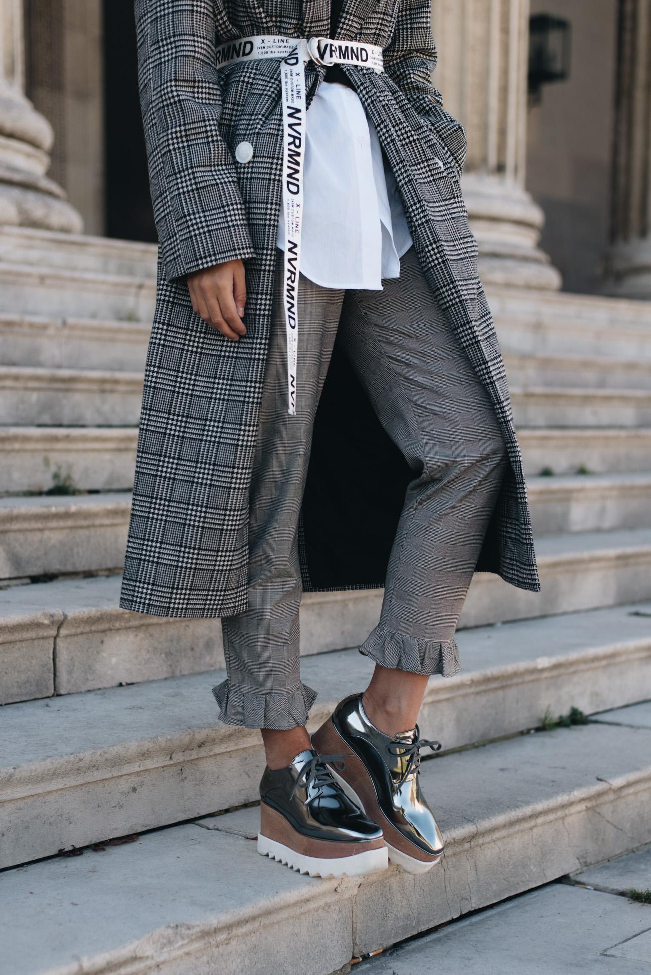 glencheck muster grau wei bluse mit corsage fashion - Glencheck Muster