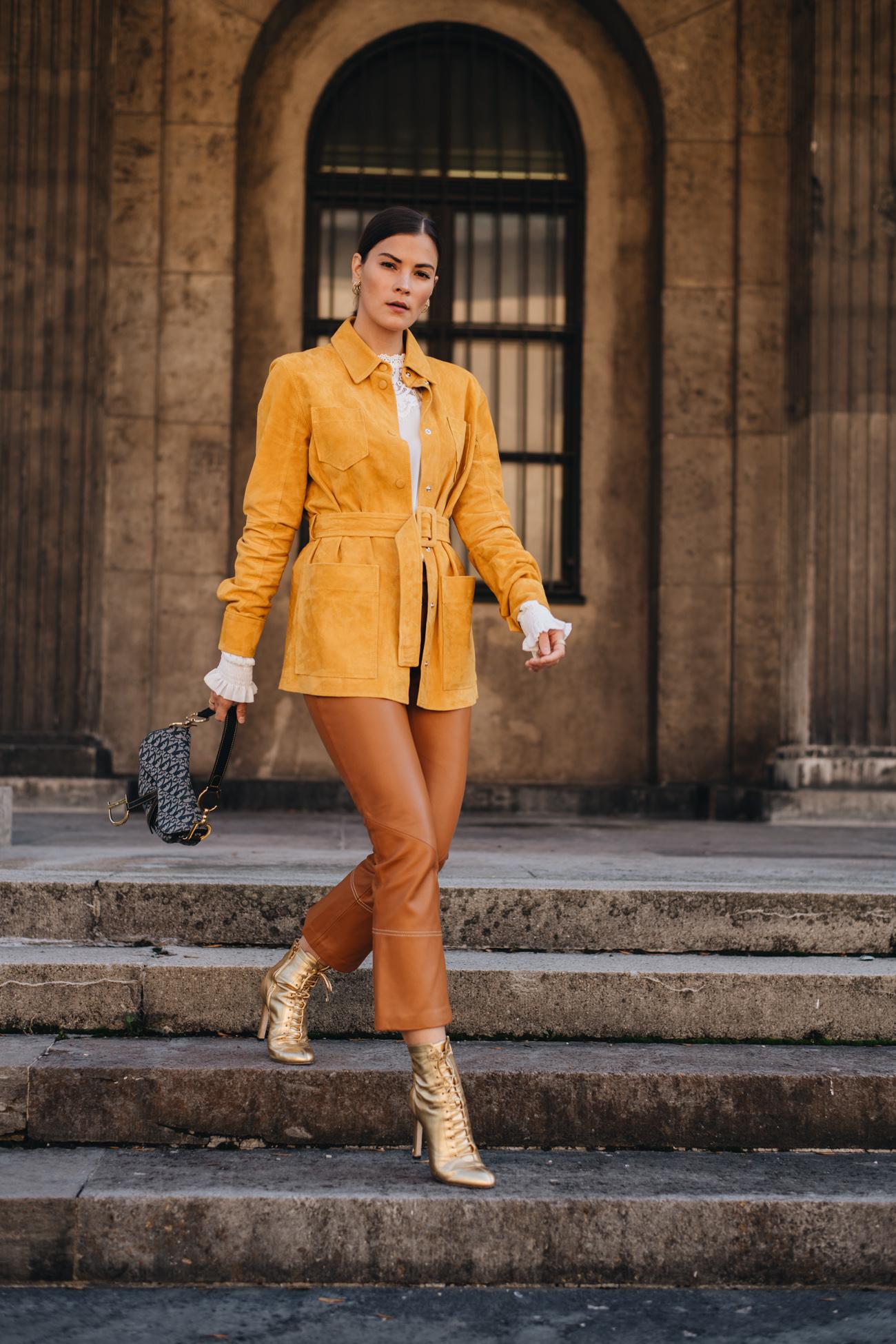 Herbst Outfit mit Lederhose