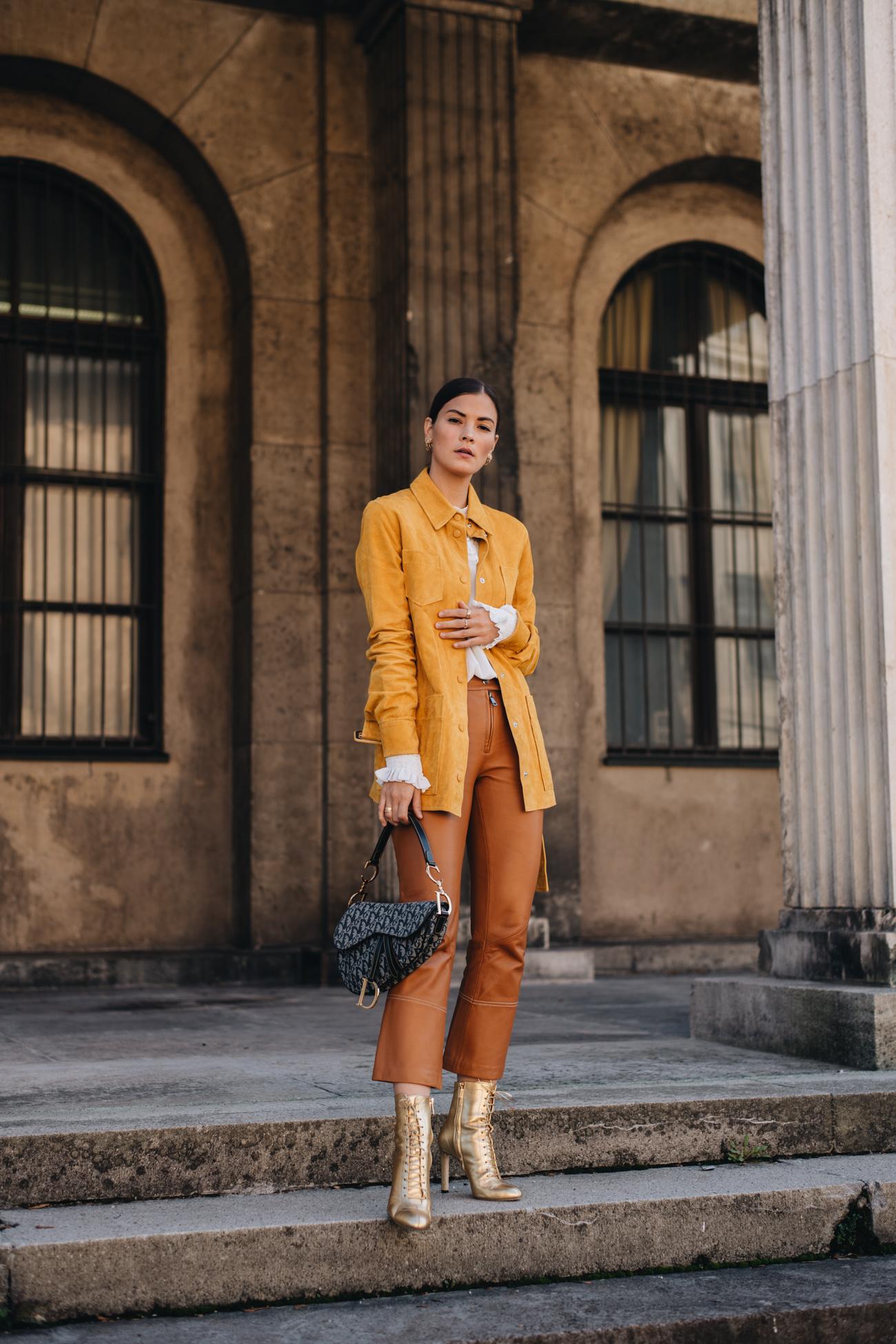 Herbst Outfit in Gelb und Braun