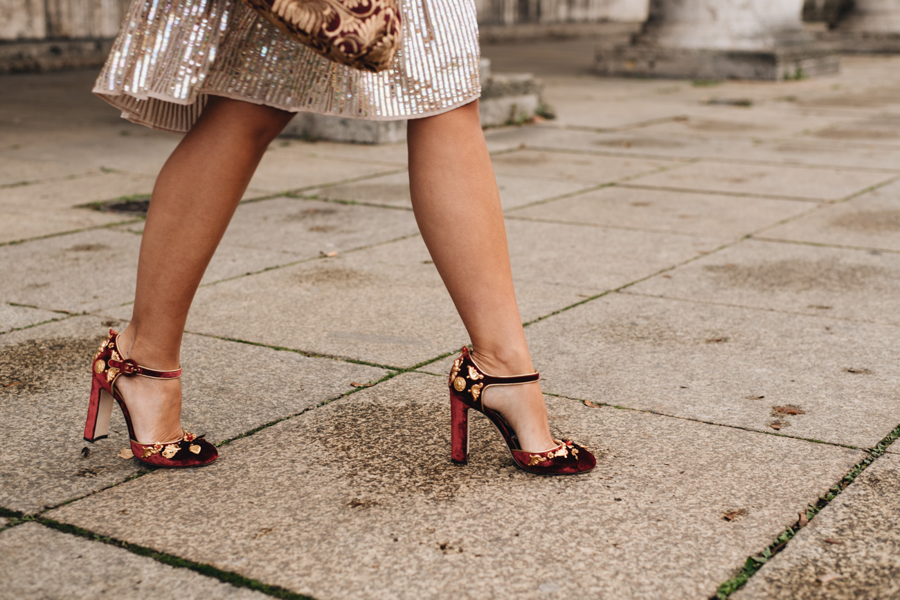 Dolce & Gabbana Samt Pumps in Rot