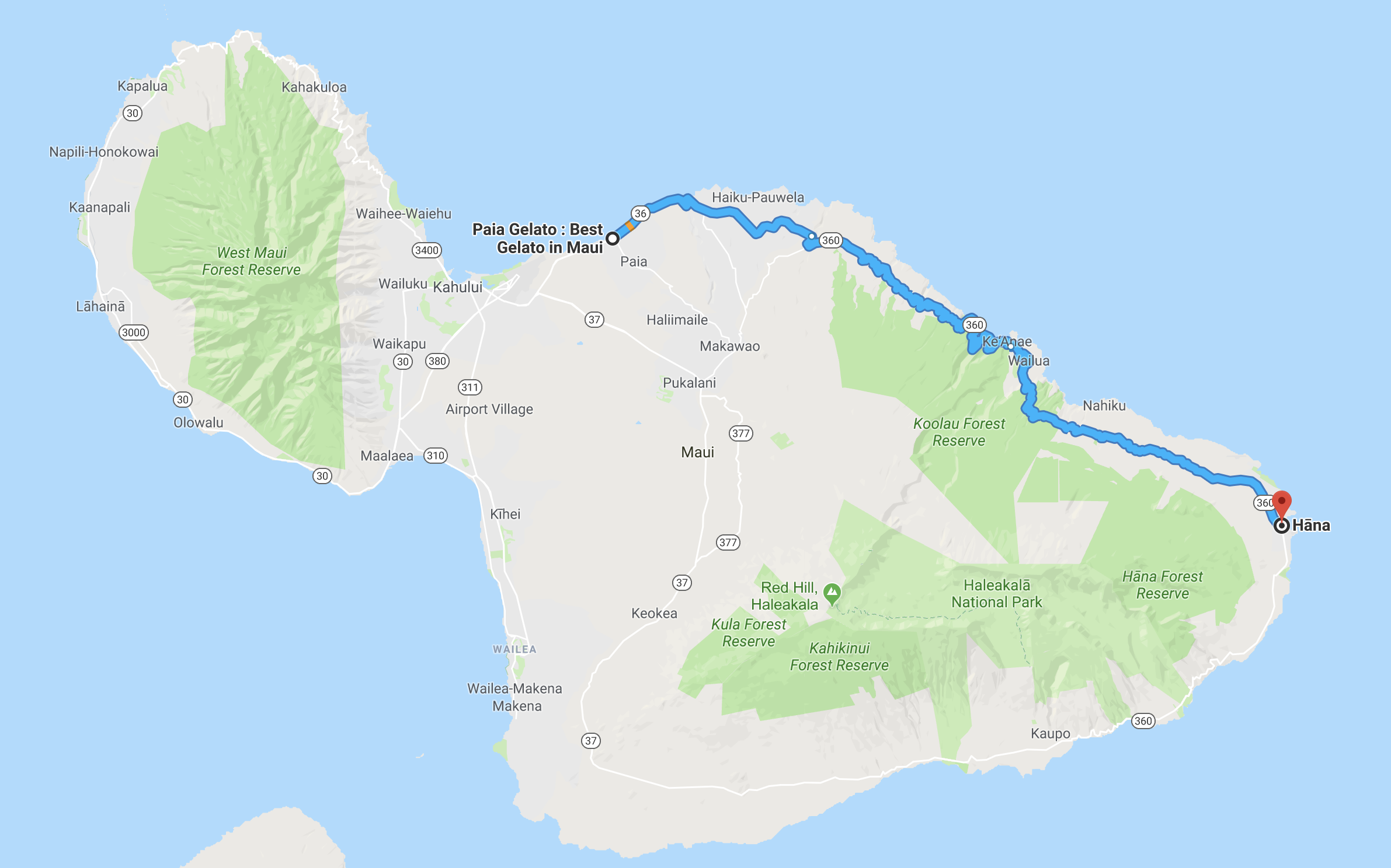 Road to hana Route Google Maps