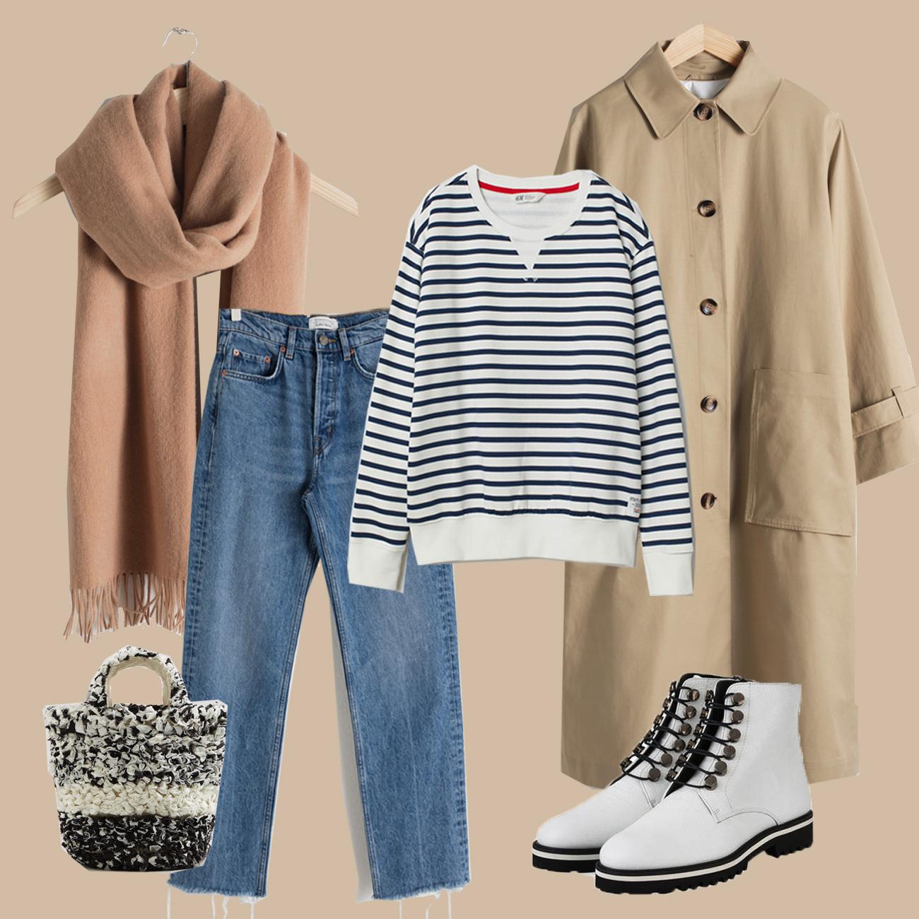 Winter Look mit Trenchcoat