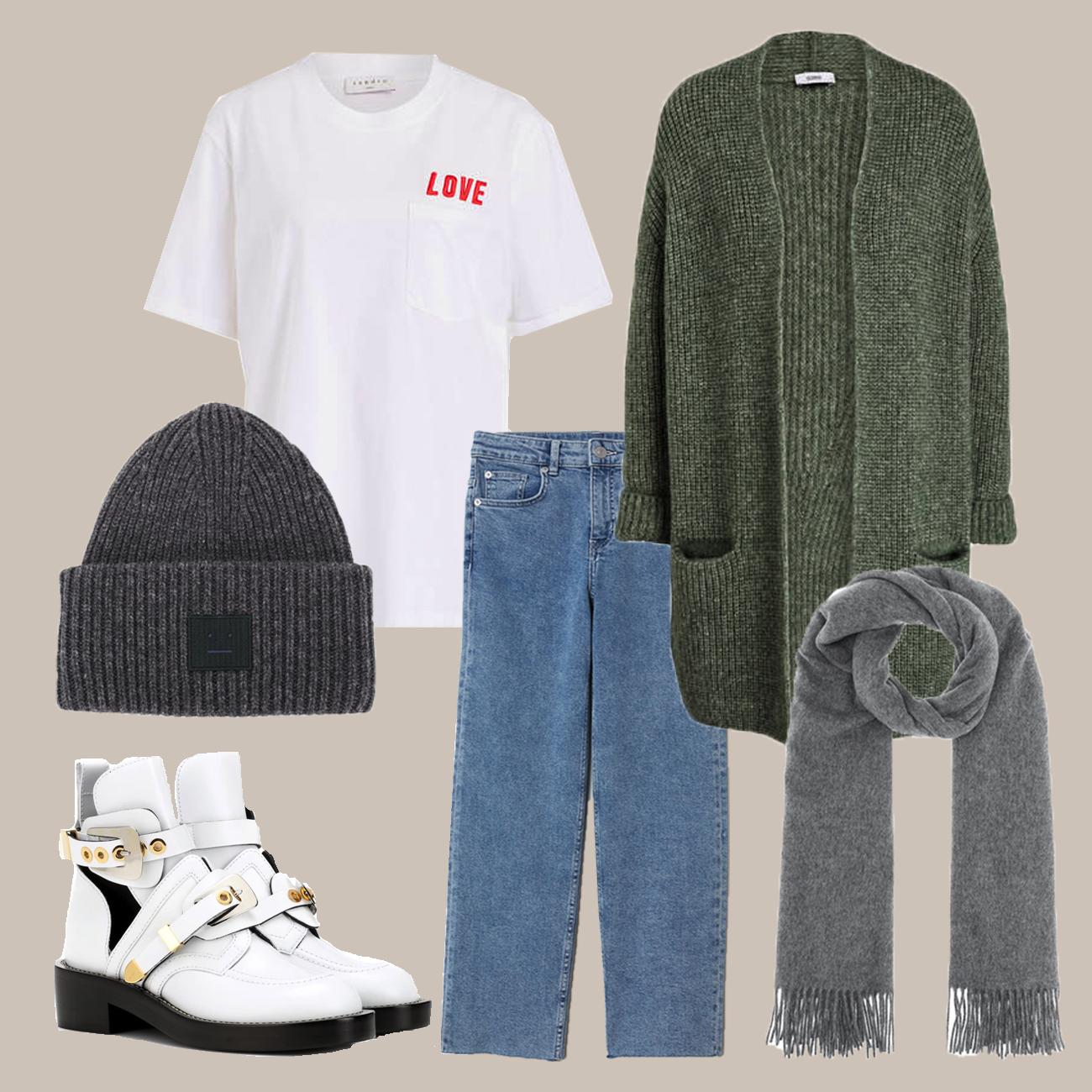 Winter Look mit Strickjacke