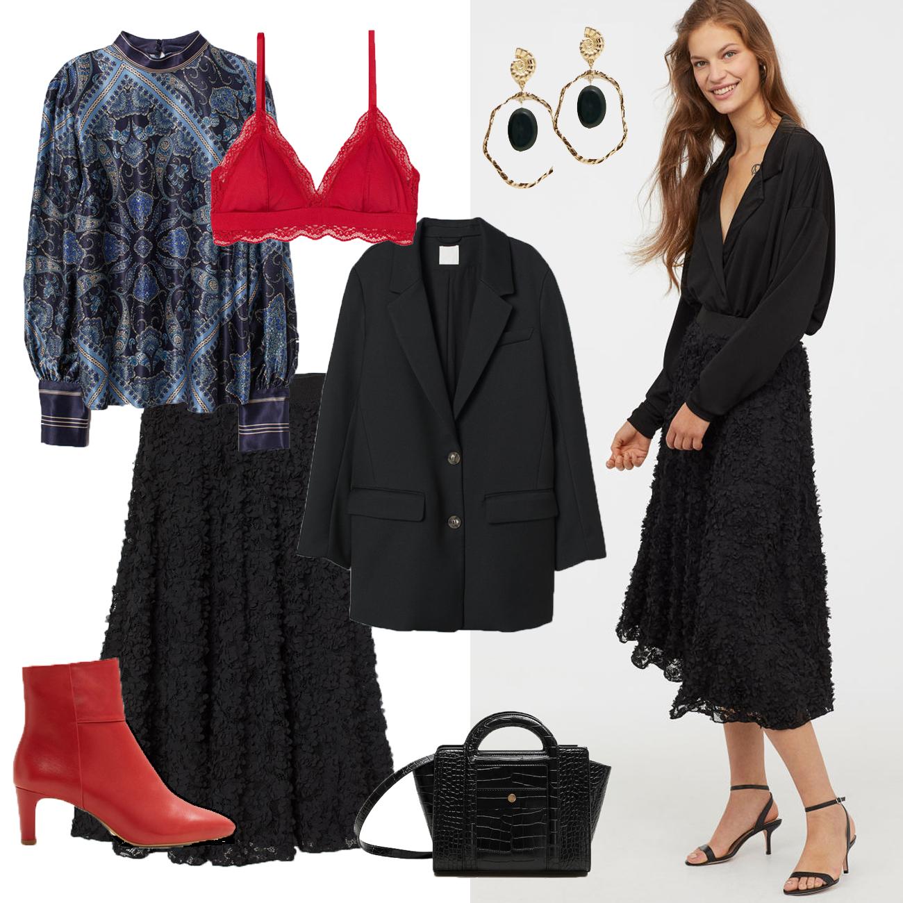 Valentinstag Outfit mit Rock und Blazer