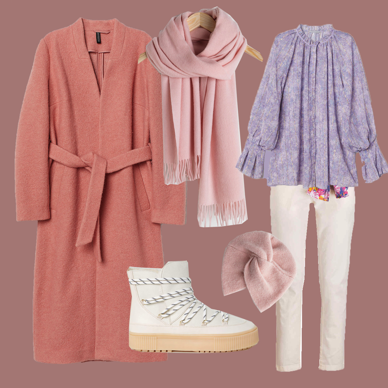 Winter Outfit mit rosa Mantel