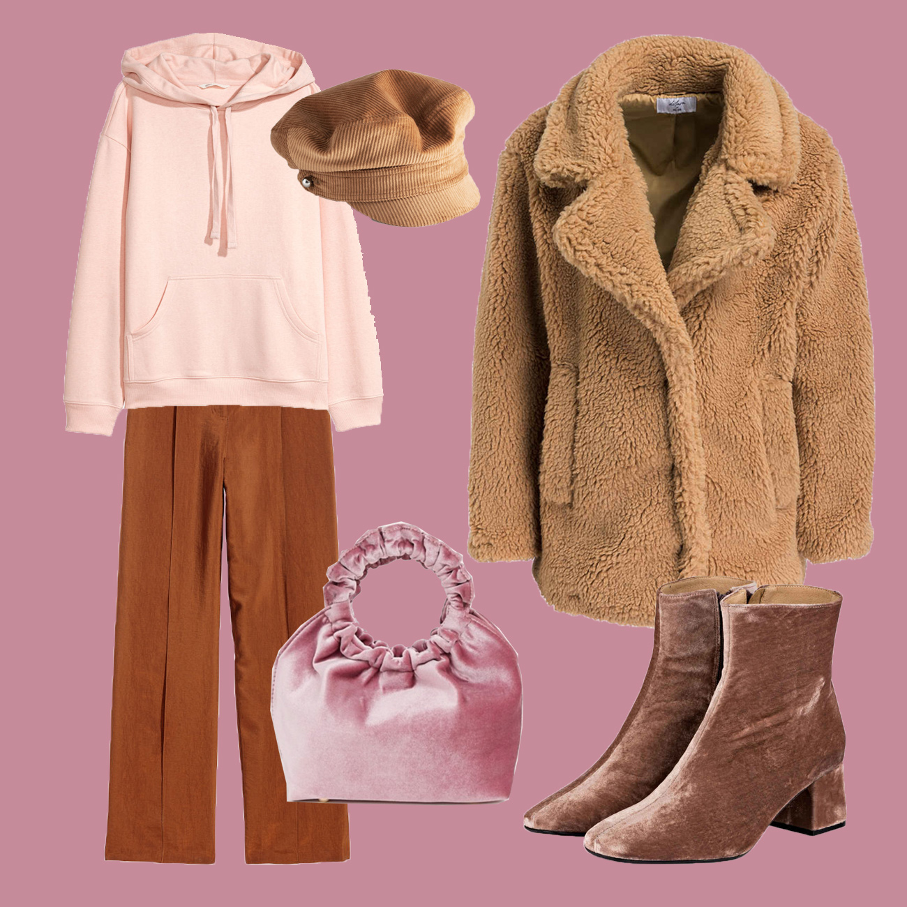Winter Outfit mit Teddy Mantel