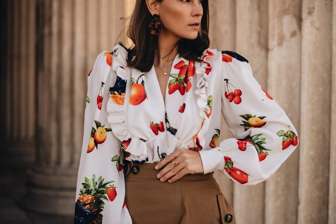 Bluse mit Obst Print