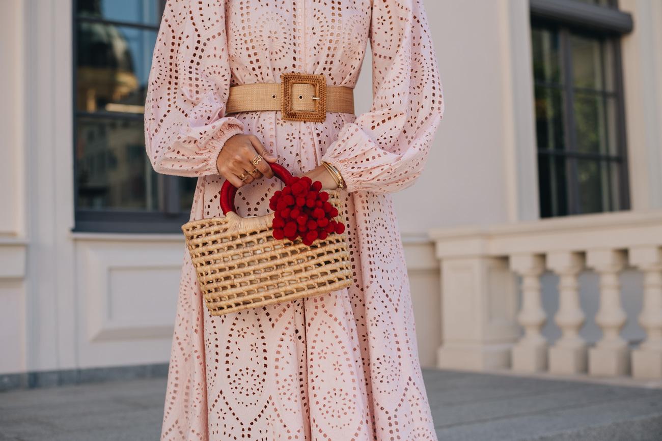Korb Handtasche mit Bommeln