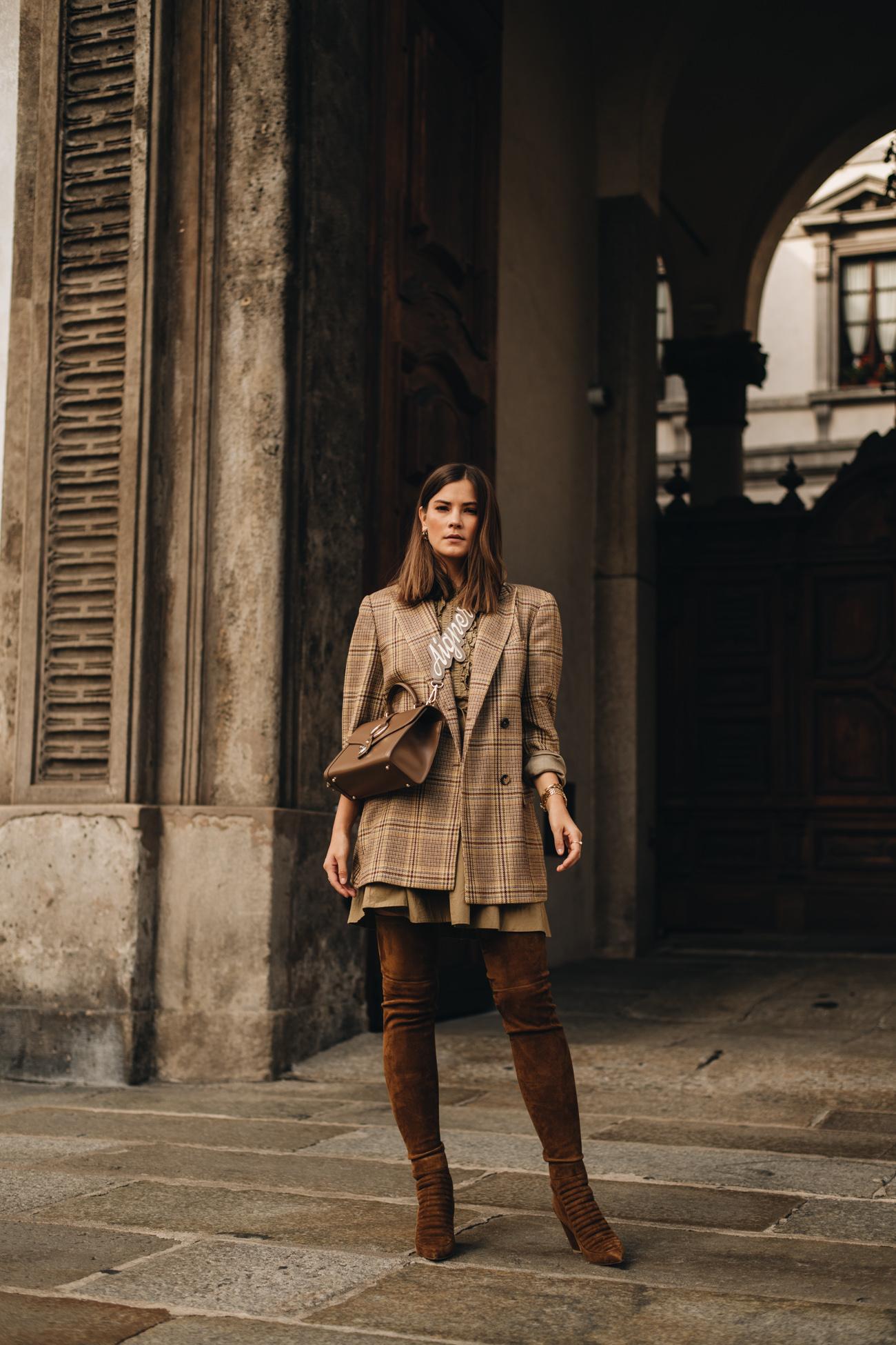 outfit: jil sander vintage blazer & braune overkneestiefel