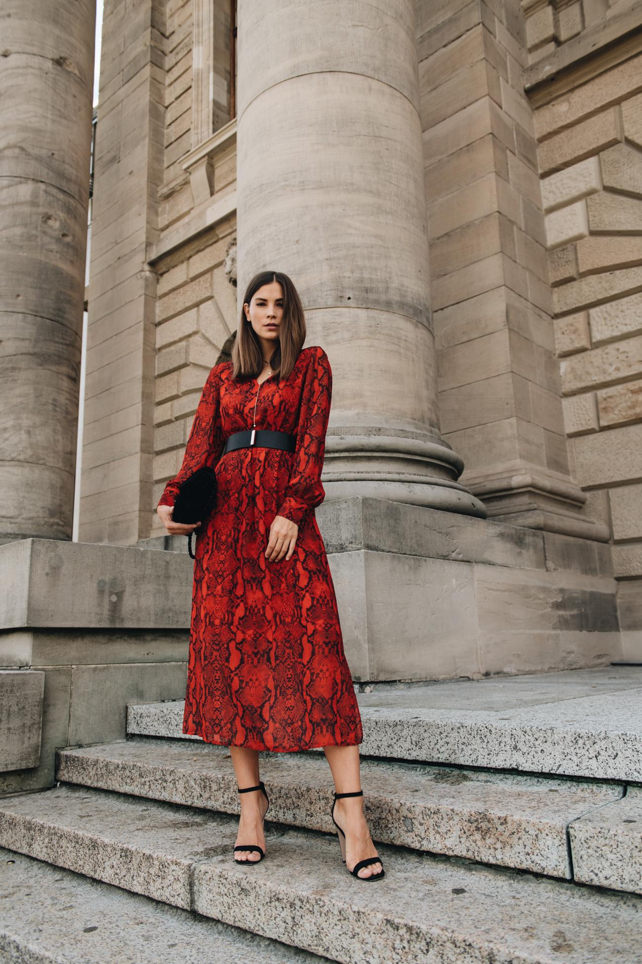 rotes Kleid mit Schlangenmuster