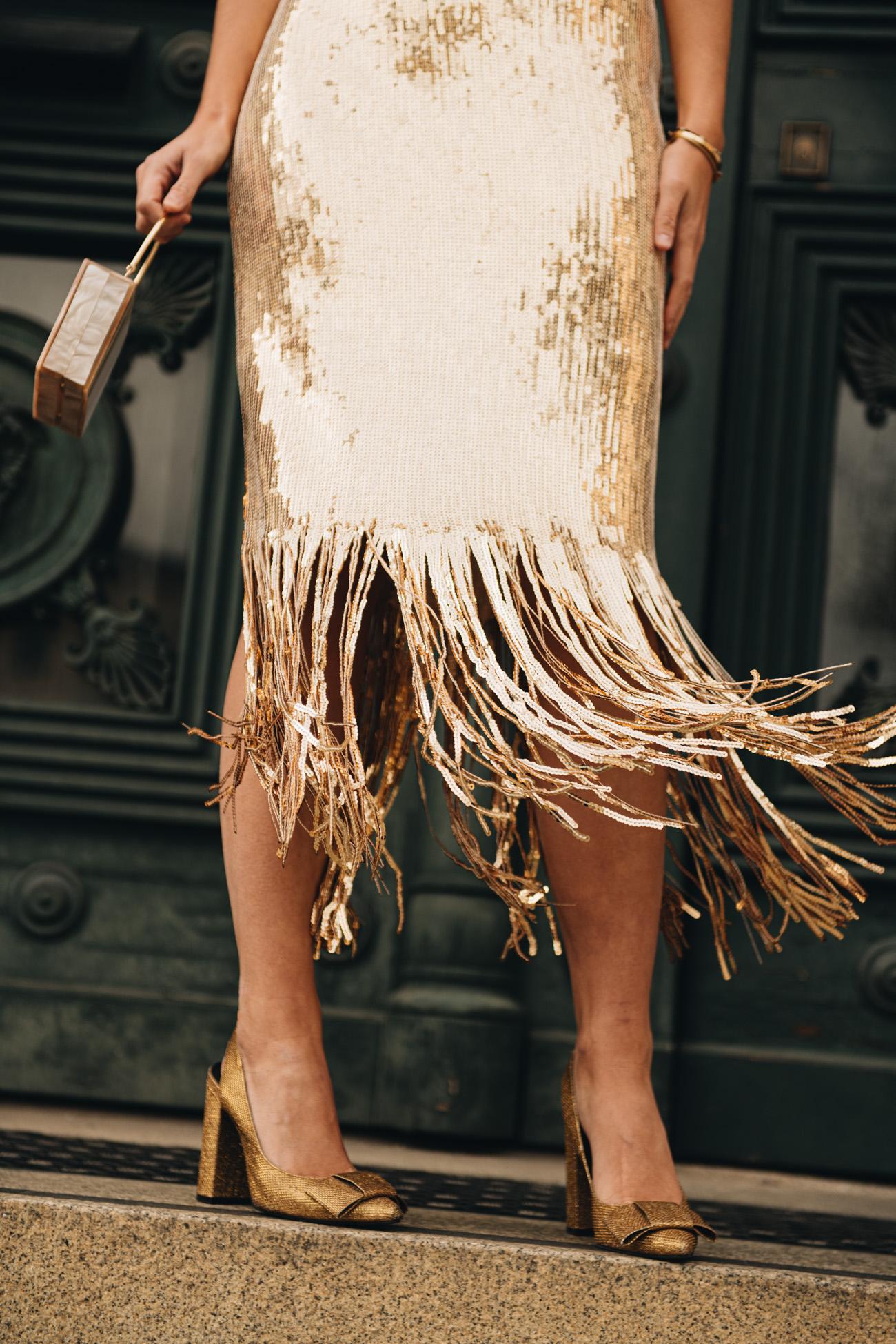 Kleid mit Fransen Saum