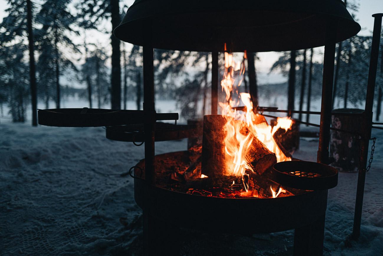 Feuerstelle Wanderung Lappland