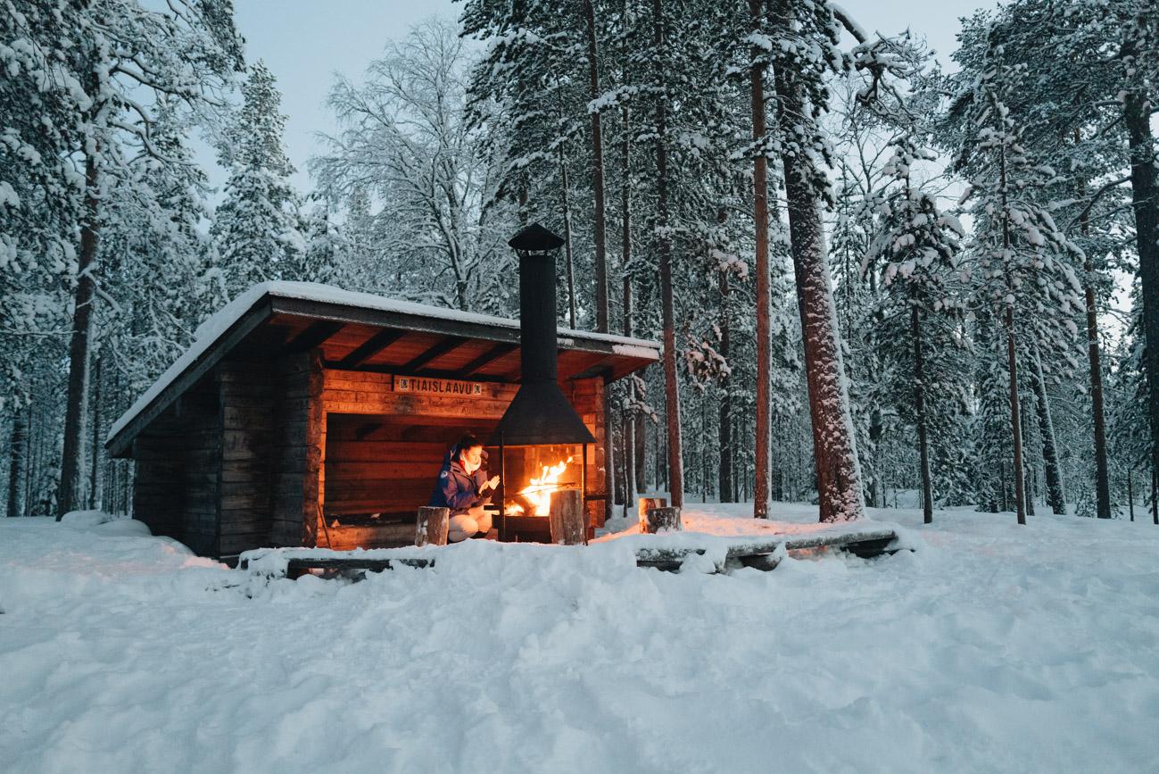 Schnee Wanderung Lappland